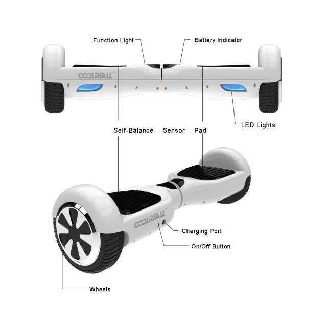 "CoolReall™ Self Balancing Scooter Two 6.5"" Wheel Self Balance Electric Board"