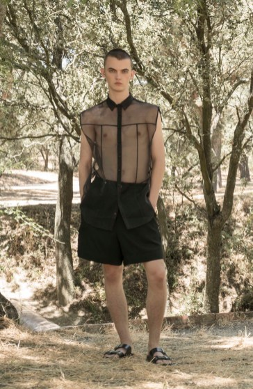 Danylo: Sheer Sleeveless Shirt and Shorts: 44 Studio | Patent Leather Sandals: Birkenstock.