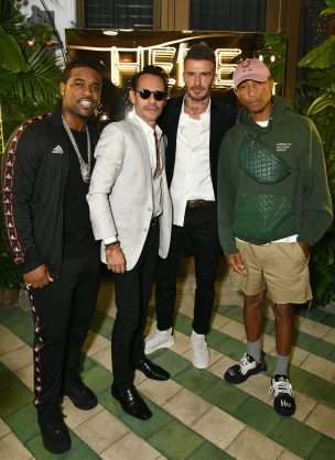 MIAMI, FL - DECEMBER 06: (L-R) A$AP Ferg, Adidas Originals, Marc Anthony, David Beckham and Pharrell Williams attend British Fashion Council and David Beckham host a dinner in celebration of their creative collaboration on December 6, 2018 in Miami, United States. (Photo by Getty Images/BFC/Getty Images for BFC) *** Local Caption *** A$AP Ferg;Marc Anthony;David Beckham;Pharrell Williams