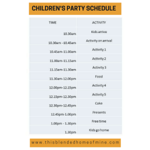 Children's party schedule - DIY Party on a Budget