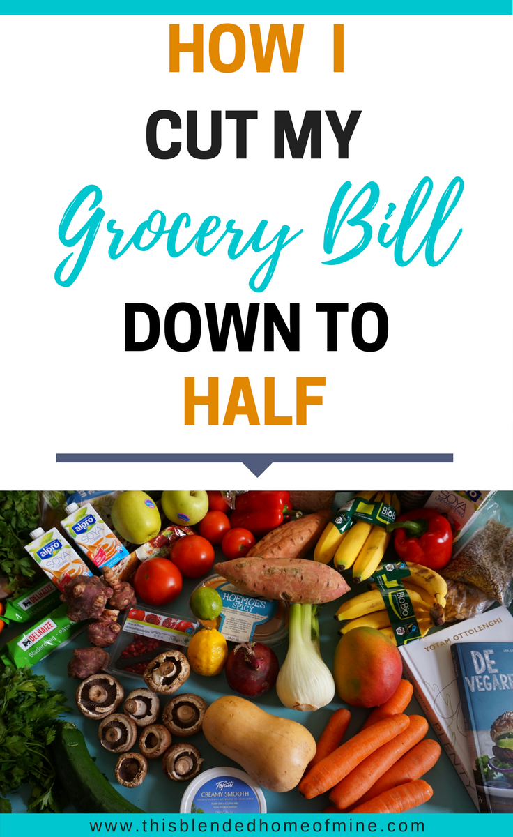 How I Cut My Grocery Bill In Half - This Blended Home of Mine _ Grocery Bill Budget, Grocery Bill Savings, Grocery Bill in Half, How to Cut Your Grocery Bill, Saving Money, Tips