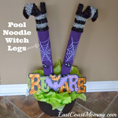 pool noodle witch legs - This Blended Home of Mine - Cheap Halloween Decorations