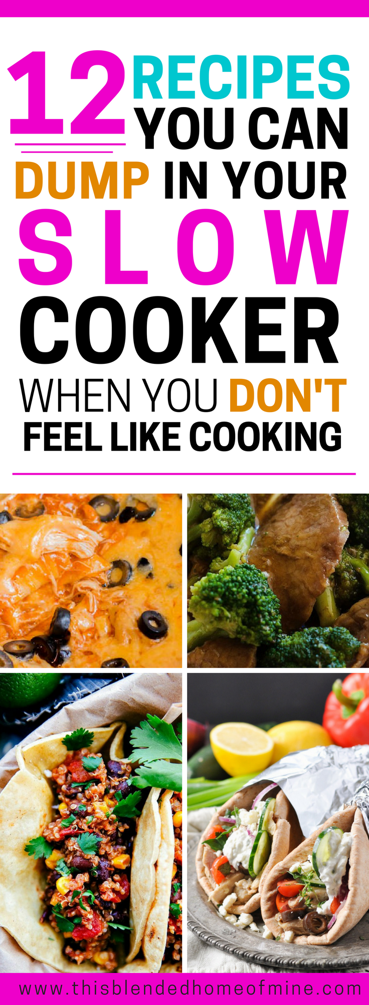 12 Easy Slow Cooker Recipes for when you just don't feel like cooking - This Blended Home of Mine _ Slow cooker recipes that the whole family will love