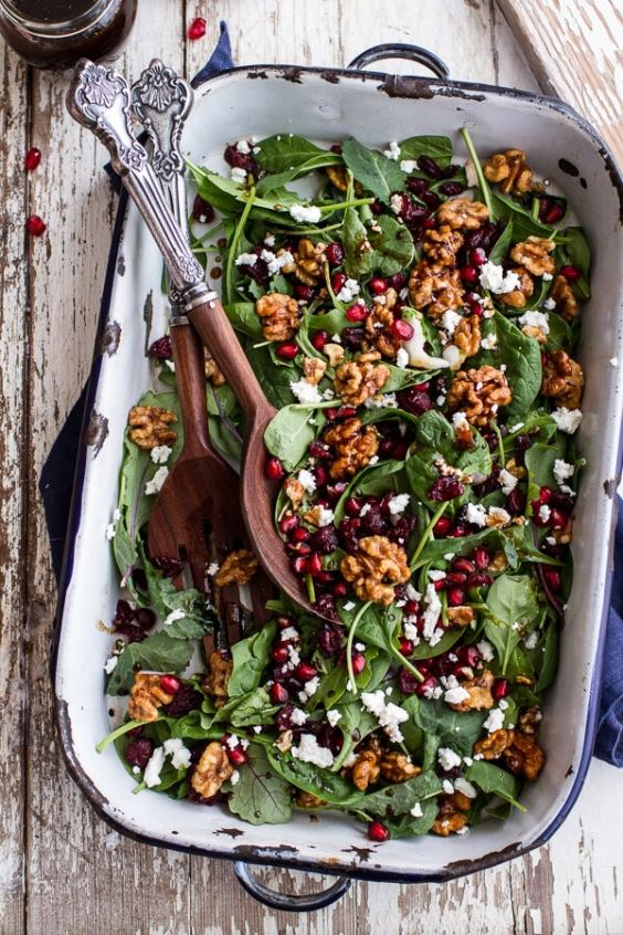 Winter Salad With Maple Candied Walnuts And Balsamic Fig Dressing - This Blended Home of Mine - Christmas Dinner Menu