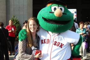 With Wally, Boston Red Sox mascot
