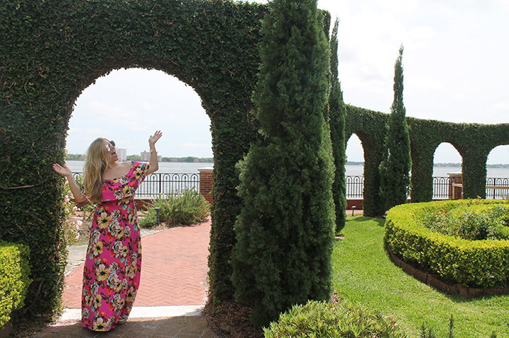 Floral Off-Shoulder Maxi in the Gardens