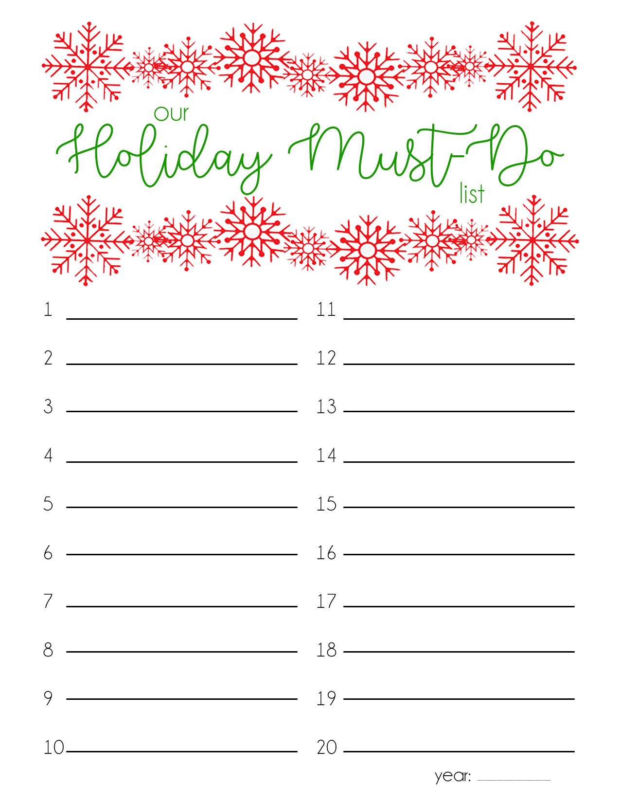 holiday must do list