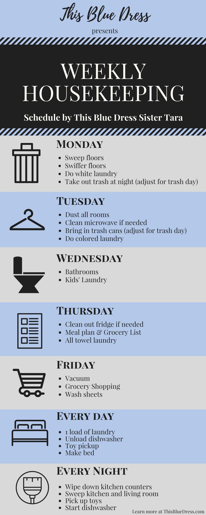 Weekly Housekeeping Schedule Infographic