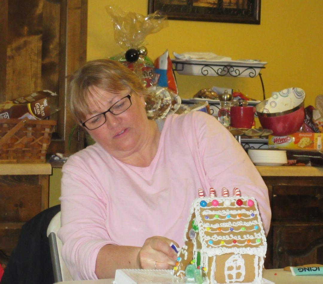 Cool grandma doing gingerbread houses