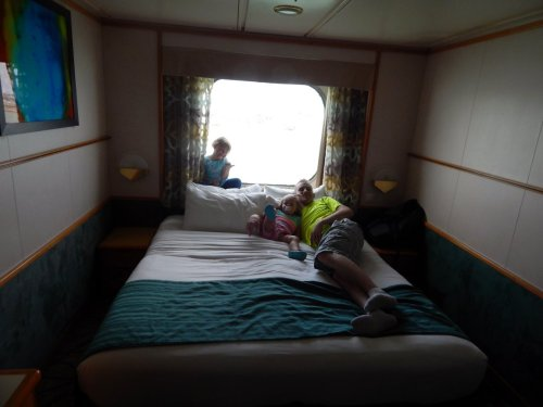 Bed in the cabin on board