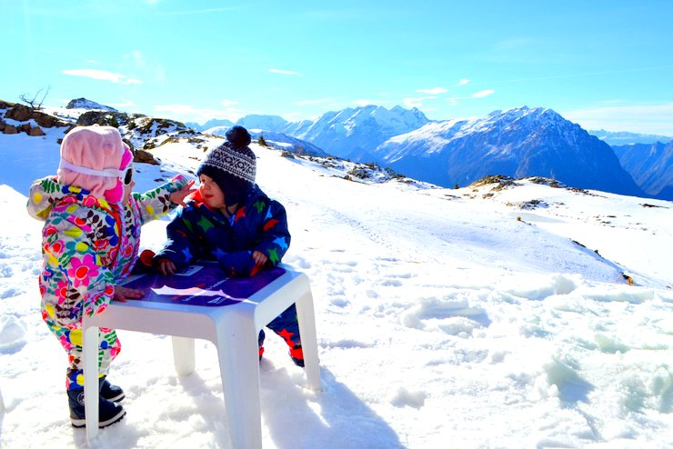 Toddlers up a mountain, Vaujany France, ski holiday
