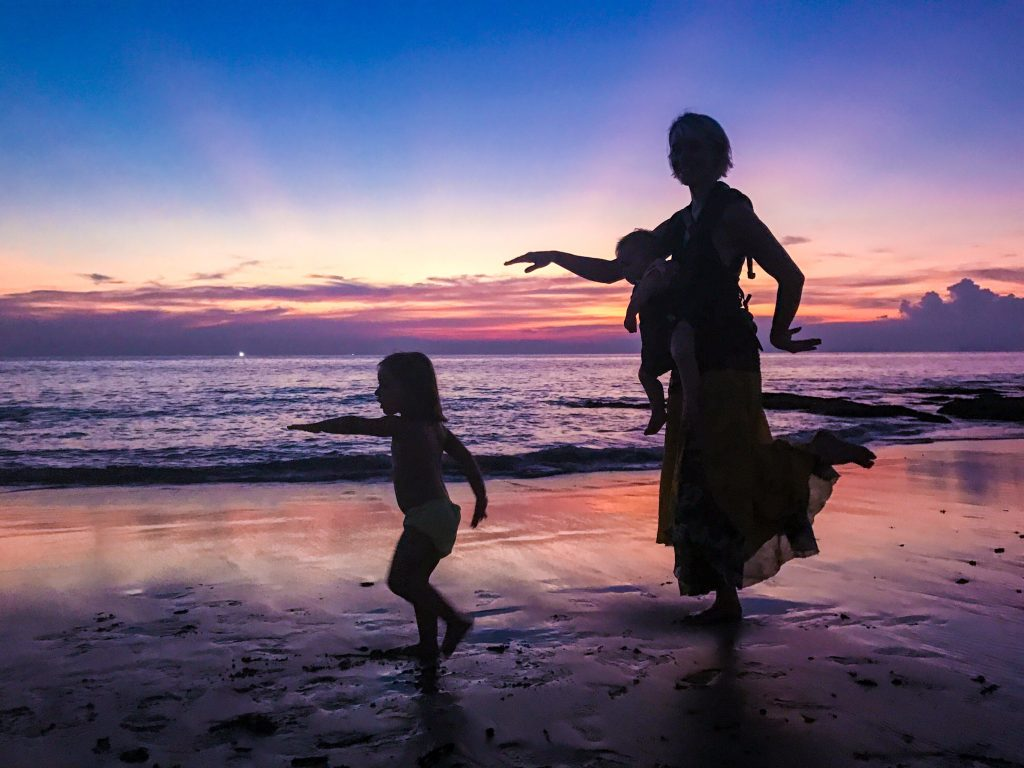 Koh Lanta sunset and ergobaby 360 sling in use