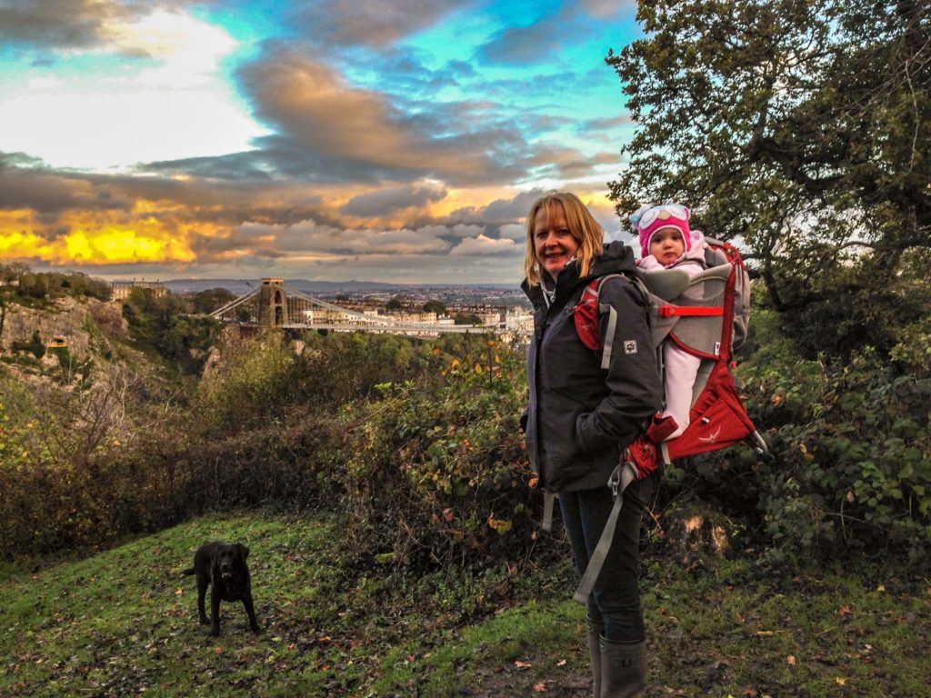 clifton suspension bridge walk wearing the osprey baby carrier backpack