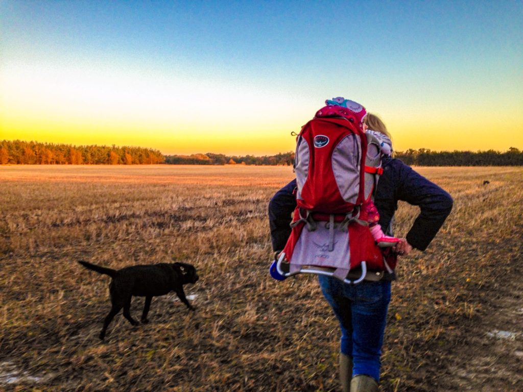 Going for a walk with the osprey poco backpack in Greatford lincolnshire