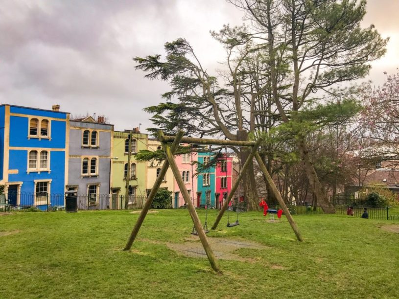 Montpelier park, multi-coloured Bristol buildings