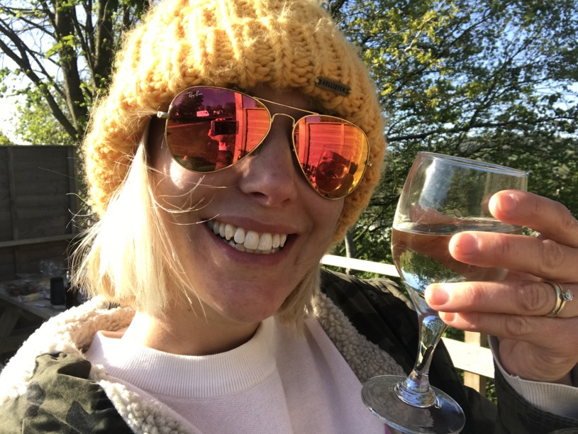 Wine at the glamping pod