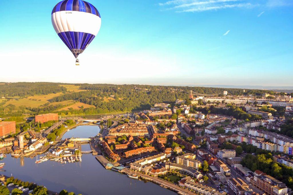 Hot air balloon over Bristol