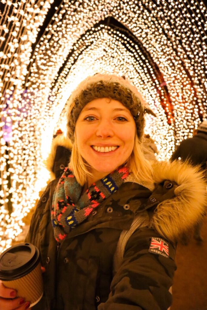 Me in a Christmas light tunnel