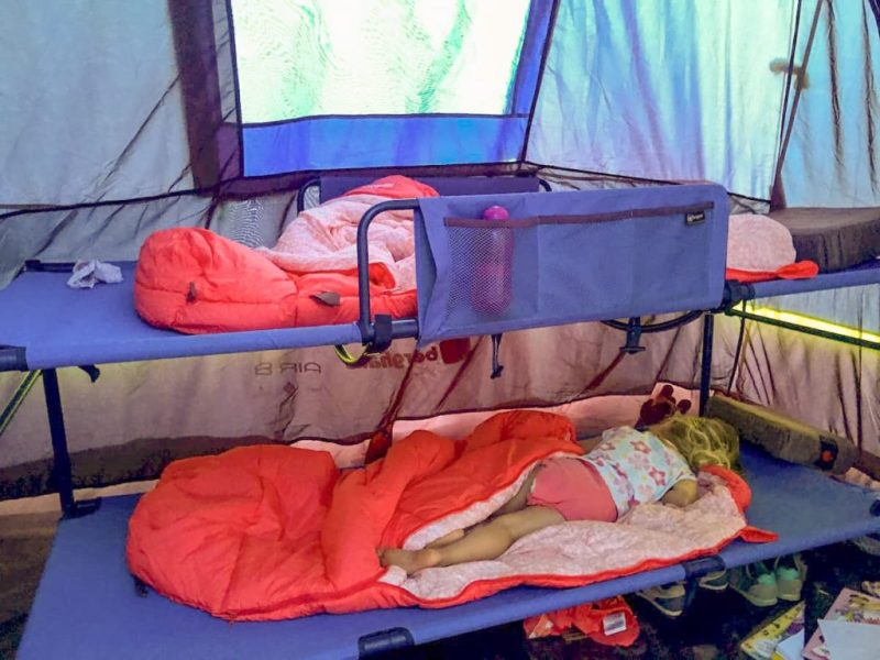 Children sleeping on Camping bunk beds in the tent