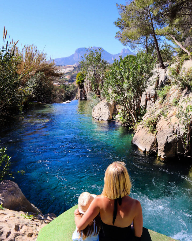 Algar waterfalls, mum and daughter