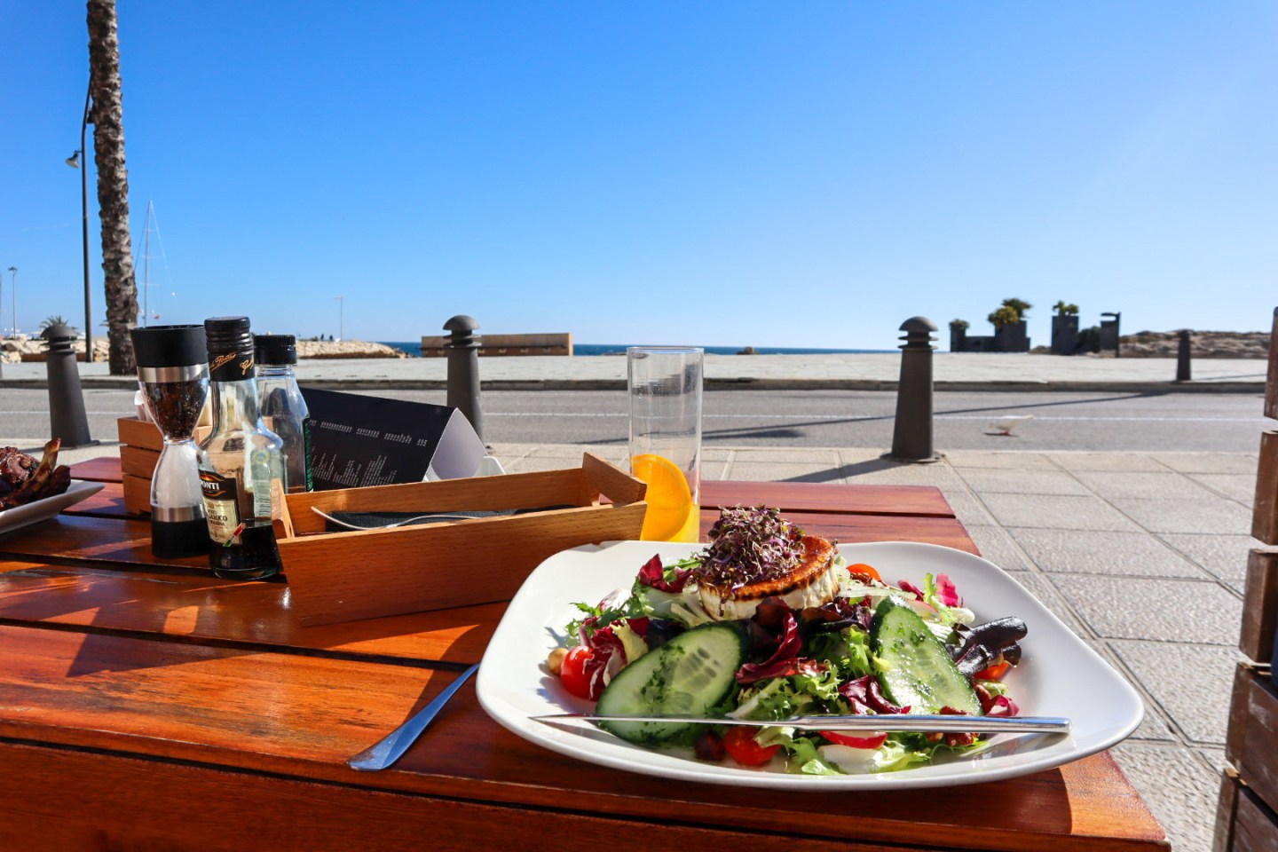 Goats cheese salad at Eleven, Moraira seafront