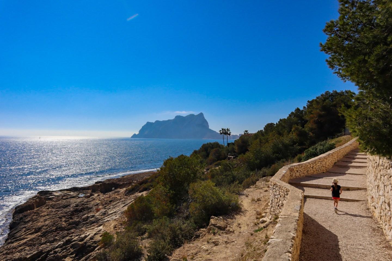 Calpe rock, Playa la Fustera view, footpath with kids