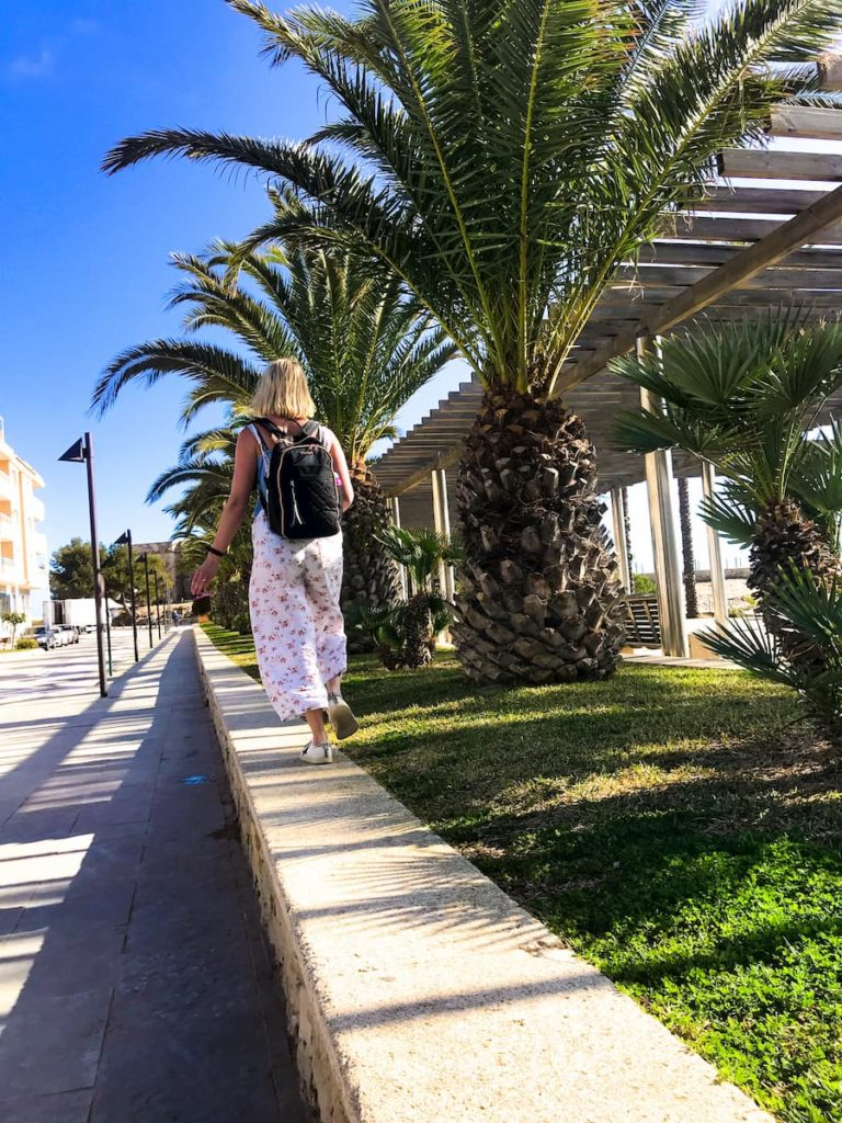 The Travel Hack backpack on holiday in Spain