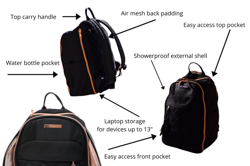 The Travel Hack carry-on backpack for women labelled