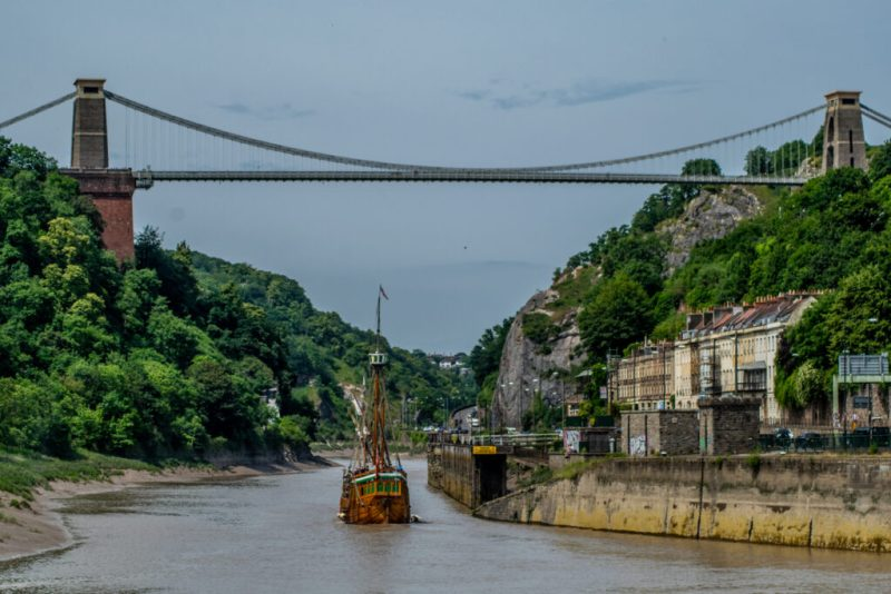 The Matthew sailing underneath Clifton Suspension Bridge Bristol
