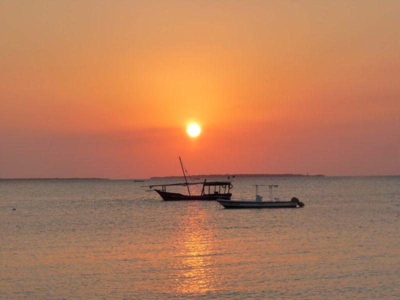 Sunset behind boats, Zanzibar, Tanzania