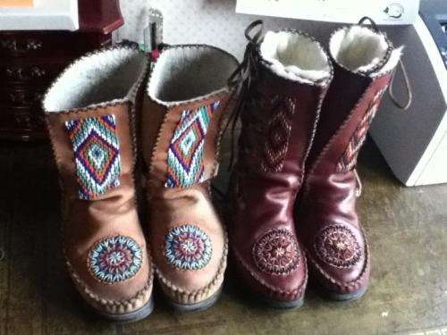 Brown and Tan Yeti Boots