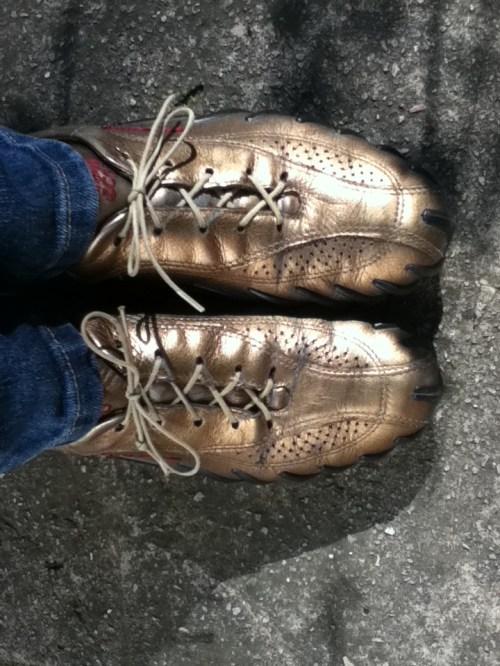 Gold Ecco Walking Shoes