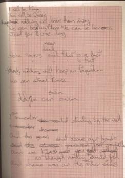 Handwritten lyrics for Heroes