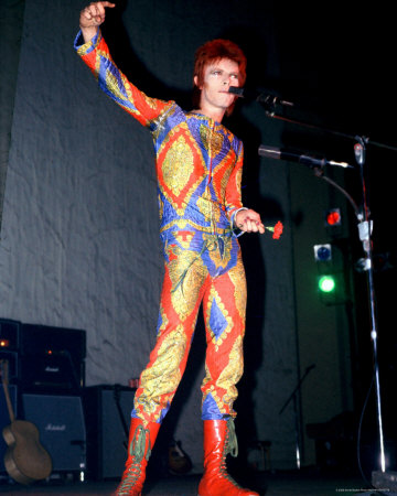 My favourite costume - liberty print faux jump-suit worn to sing Starman on Top of the Pops in 1972