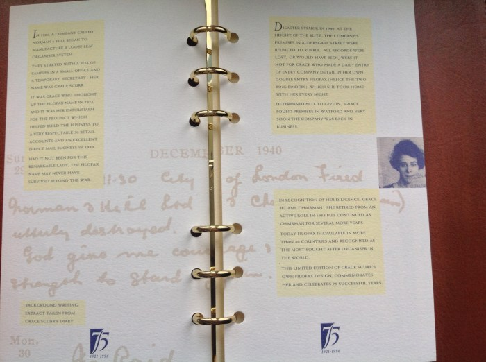 The story of how Grace Scurr's Filofax (of which this one is a copy) saved the company. In the background is an entry from her Filofax