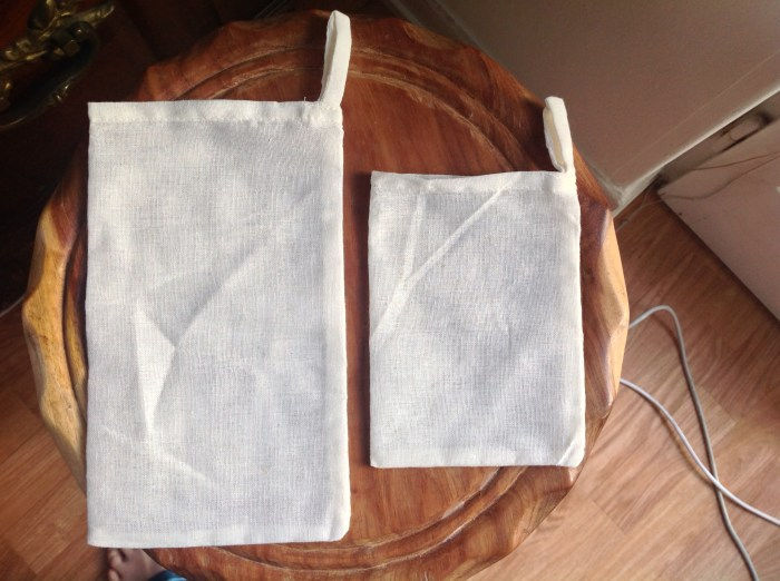 Cotton storage/carrying pouches