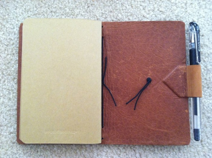Inside back cover, lined in leather. Photo by Tiffany