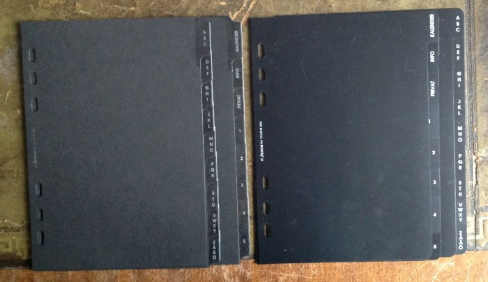 Black Dividers - card on left,  plastic on right