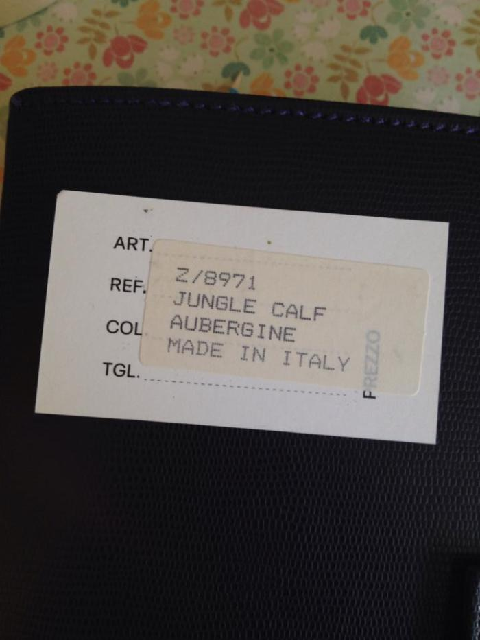 The original label - what a lovely name - Aubergine Jungle Calf