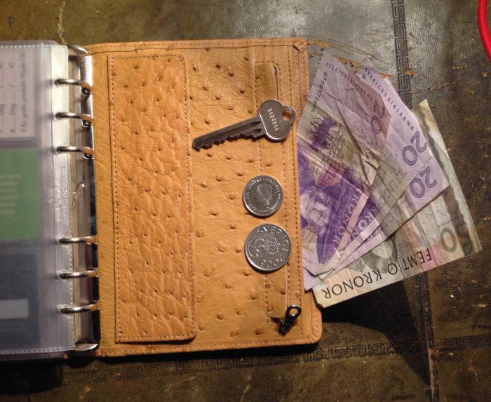 Coins go in the zippered pocket