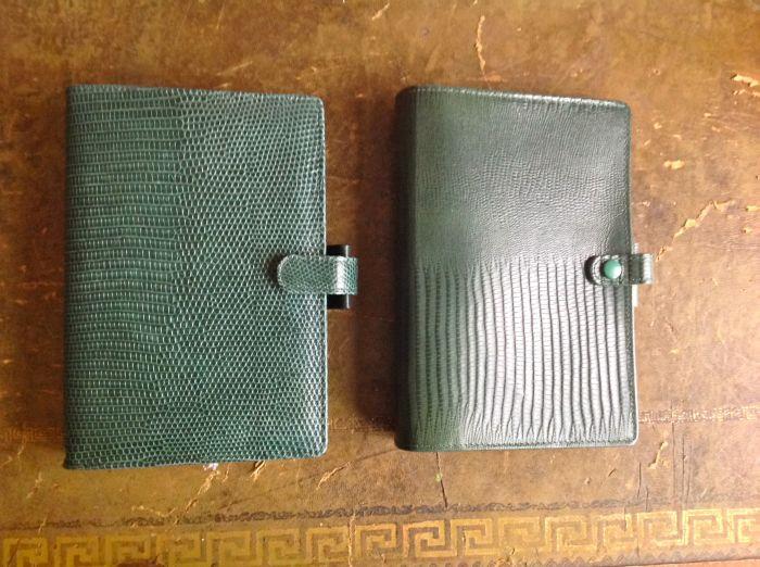 Filofax Tejus in green to the right.