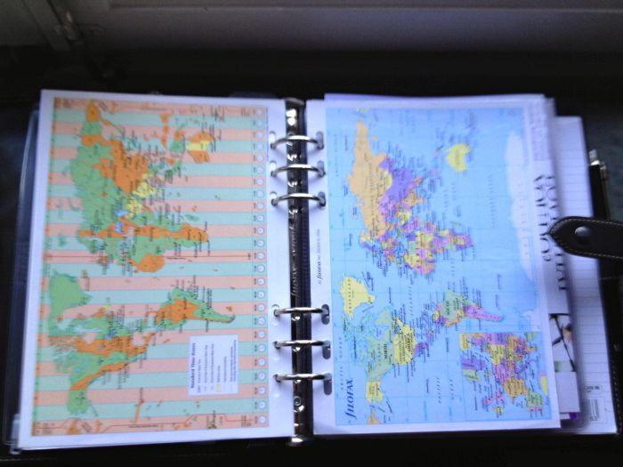 World maps. Most of my clients travel frequently and all of them need to know about other countries so I always carry a few of these in my Filofax. I like the Gillio ones.