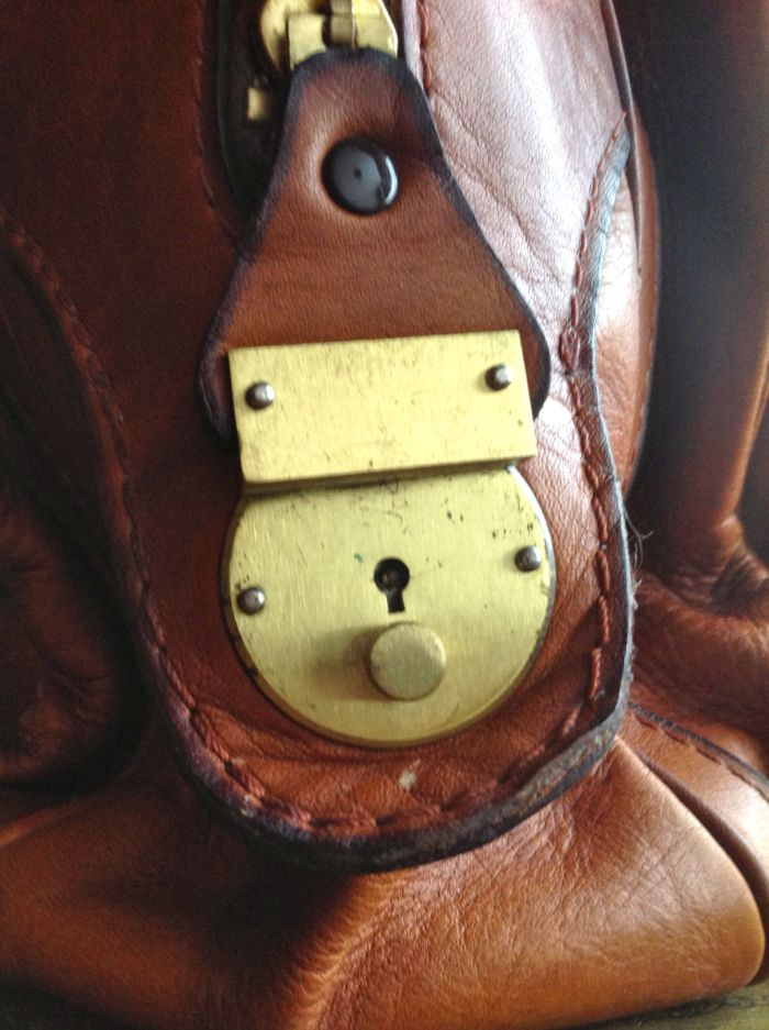 Handmade lock and beautiful stitching.