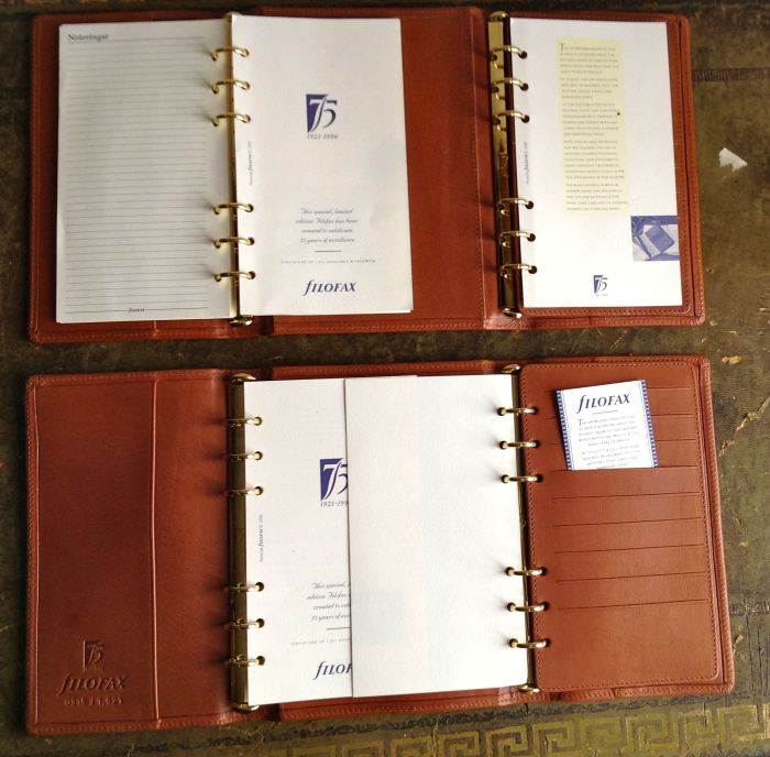 Grace Scurr duplex binders - each one has two sets of rings, allowing three pages to be viewed simultaneously