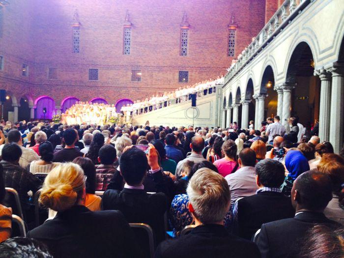 Caroline af Ugglas and her large choir sing for us