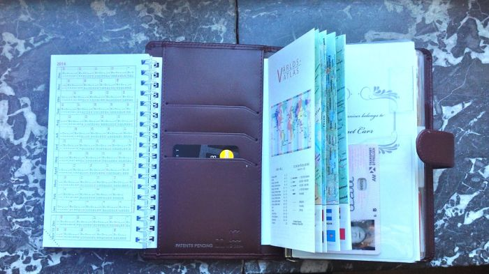 Left, my bookings calendar, middle, my less-used credit cards, right a small atlas and far right flyleaf with driver's license