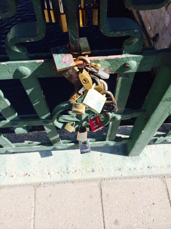 Closer view of the Swedish Parliament bridge locks