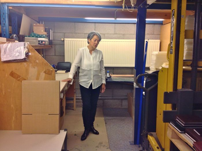 Mrs Van Der Spek showing me the packaging and posting area. There is a lot of bending and lifting in this area and the Van Der Speks do it all themselves.