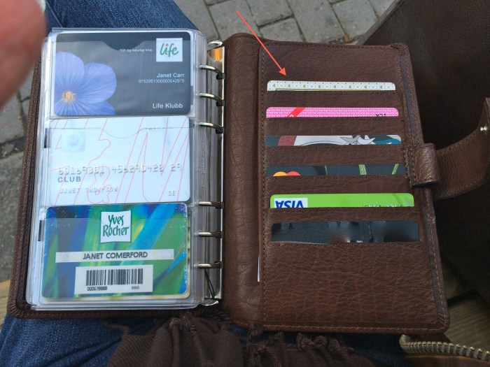 Arrowed is my travel card. I can just hold these over card readers without taking it out of my binder