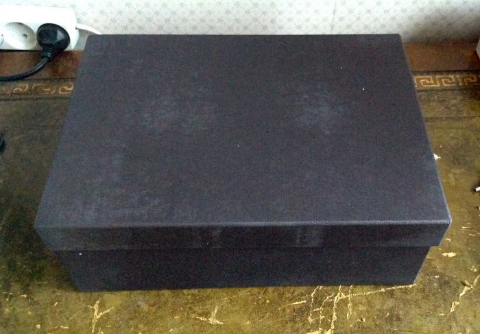 The box - custom made for each book. It is a little dusty here from the polystyrene. My other one is tan in colour so I am glad this one is black.